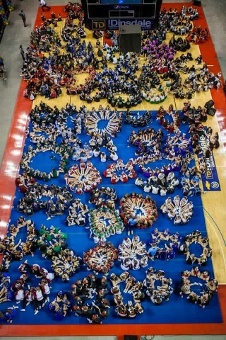 Competing squads at the Nebraska State Cheer and Dance competition.
