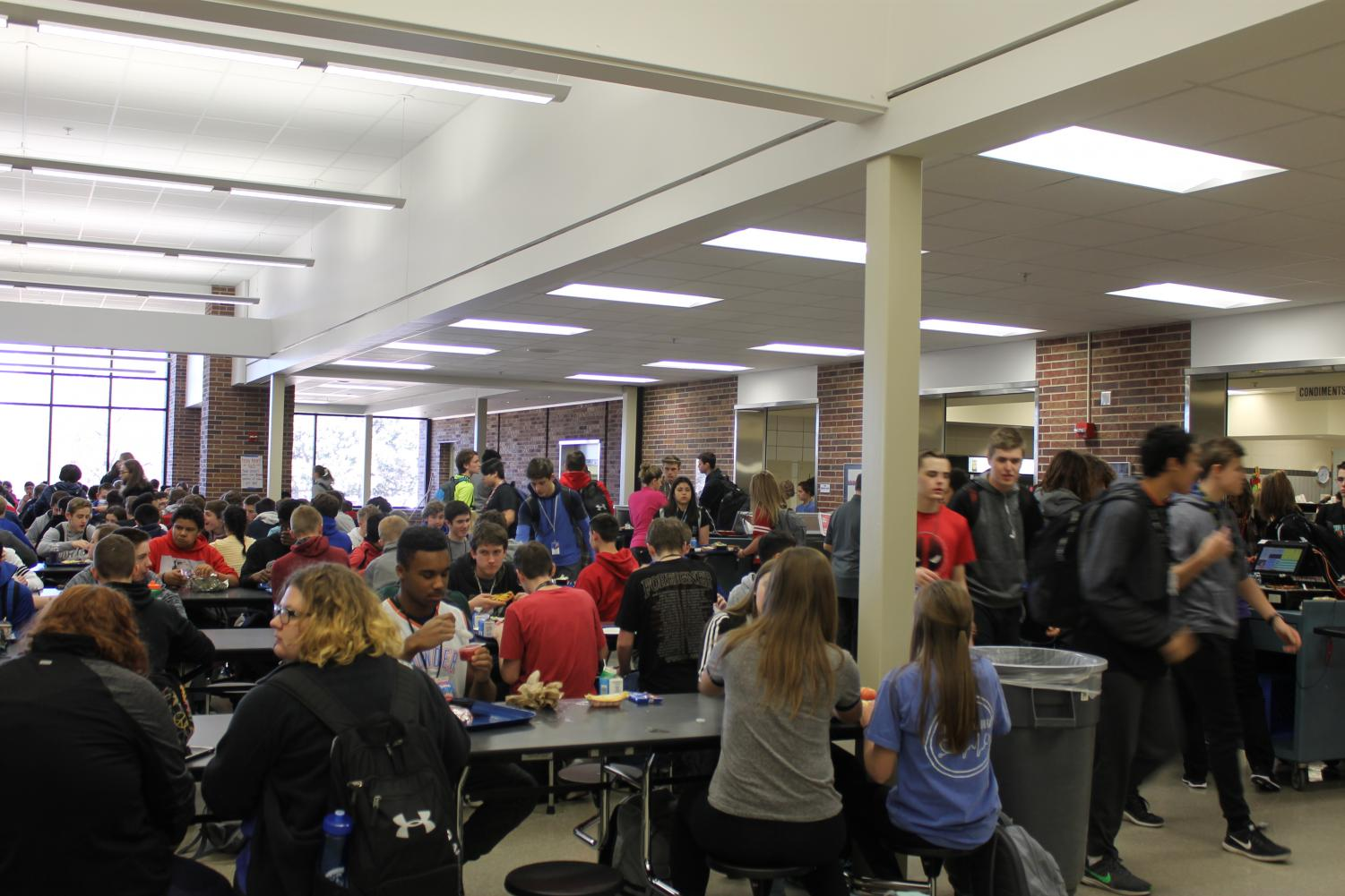 Students enjoying their free time during third lunch.