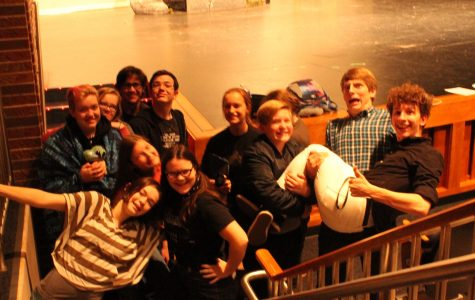 Some of the One - Act cast takes time to pose for a picture at their dress rehearsal.