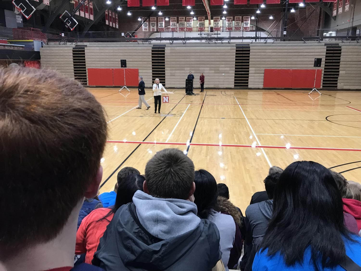 A speaker at the opening ceremony in the auditorium at UNL Math Day, on November 16, 2017, informing students about future  possibilities in math Photo by Crystal Xu.