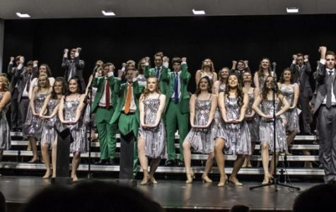Lincoln East's varsity group, Express, performing for Show Choir Show Case.  Photo by Luke Borgmann.