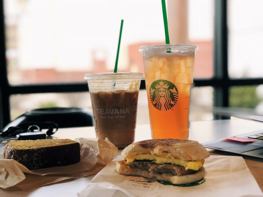 This+delicious+Starbucks+spread+features+an+iced+coffee%2C+iced+tea%2C+a+pumpkin+loaf+and+a+sausage+breakfast+sandwich.
