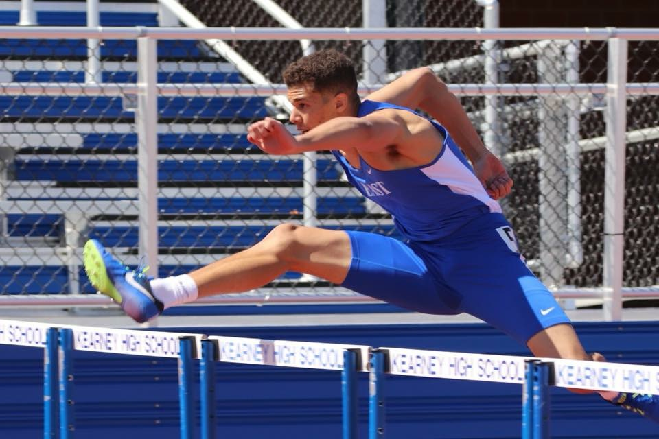 Elliot Alexander during the 100m hurdles event.