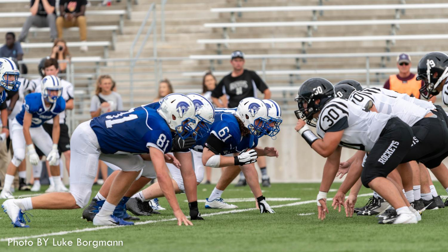 The East defense lines up against the Northeast offensive line on Friday, August 31st at Seacrest Field.  East won the game 28-7.