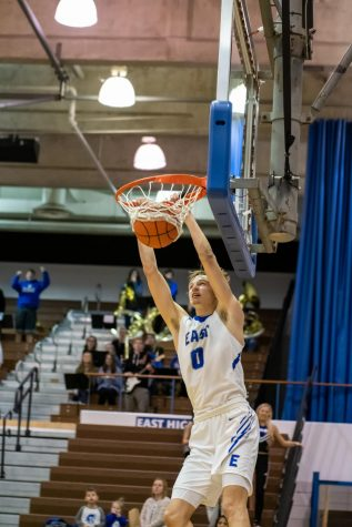 Spartan senior forward Wes Dreamer dunks in the district semifinals against Omaha Burke on February 25 at Lincoln East.  East won 63-54.