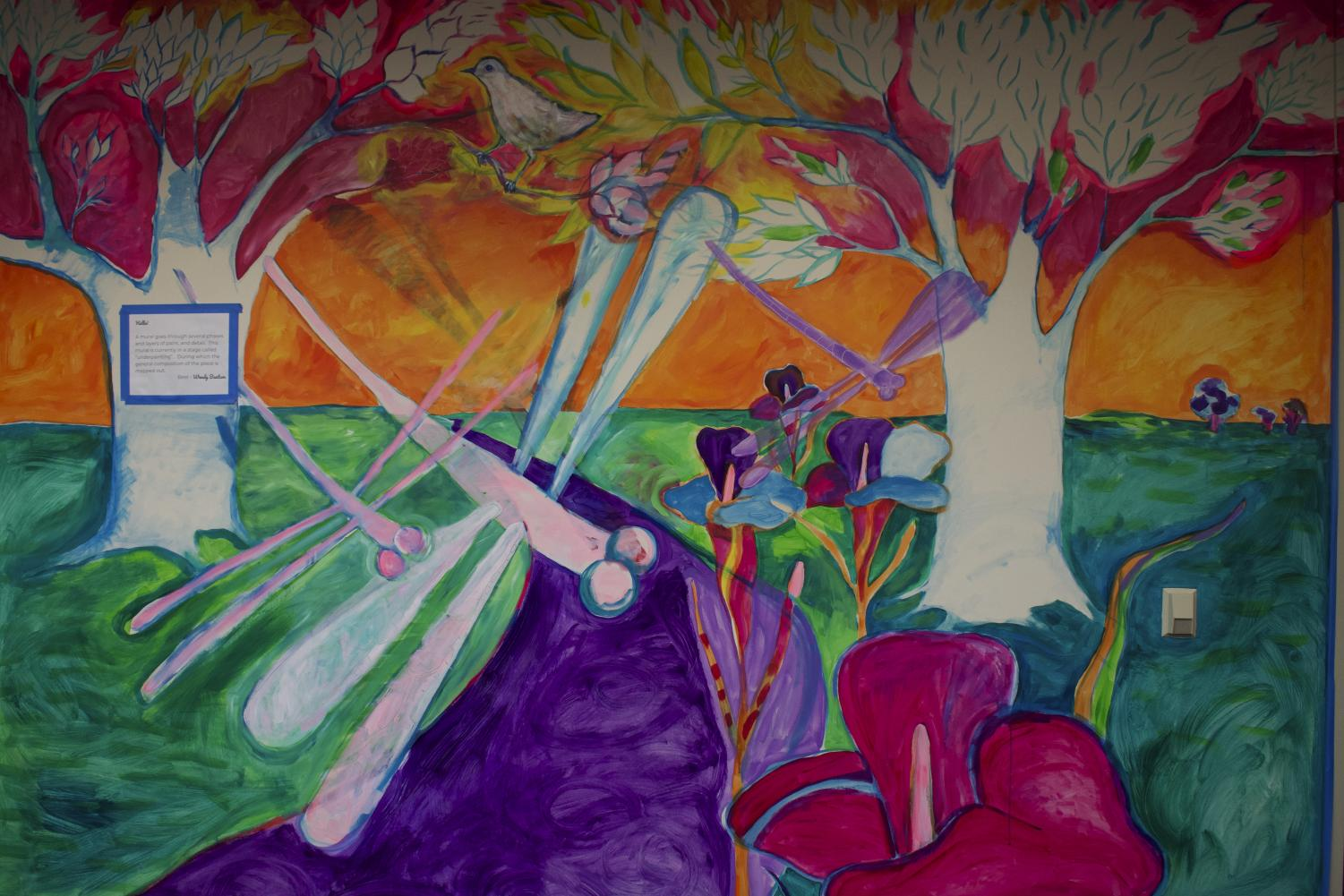 A portion of the mural in the main office.