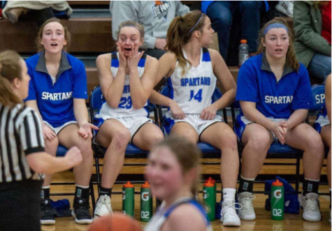 The Lincoln East bench expressing concern with being down 19 at the beginning of the 4th quarter this past Saturday. The Spartans went on to win against #5 Omaha Westside 68-65.