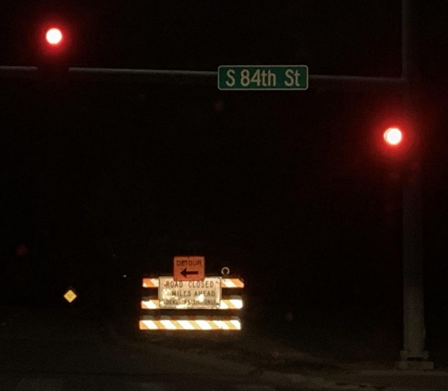 A road closed marker along 84th and A; a snippet of what's to come.