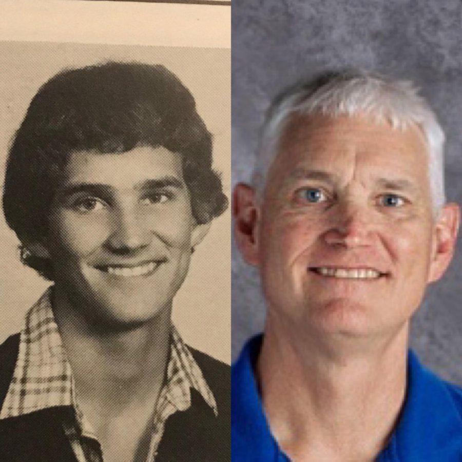 Joe Hovorka as a senior versus a teacher at East.