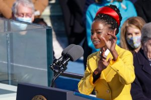 Amanda Gorman becomes the youngest poet in history to present an original work at a presidential inauguration. On January 20th, 2021, she speaks to the millions tuned into the ceremony of what she believes in unity and trust within the country.
