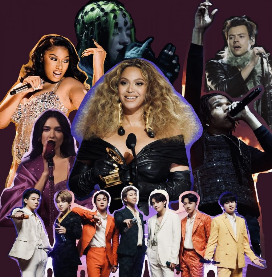 Some+of+the+artists+of+the+night%3B+Beyonce+%28center%29%2C+BTS+%28bottom+center%29%2C+Dua+Lipa+%28left+center%29%2C+Megan+Thee+Stallion+%28top+left%29%2C+Billie+Eilish+%28top+center%29%2C+Harry+Styles+%28top+right%29%2C+Lil+Baby+%28right+center%29