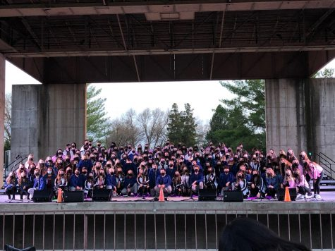 All of the choir performers from Elevation, Elegance, and Express pose for a picture at the end of the event.