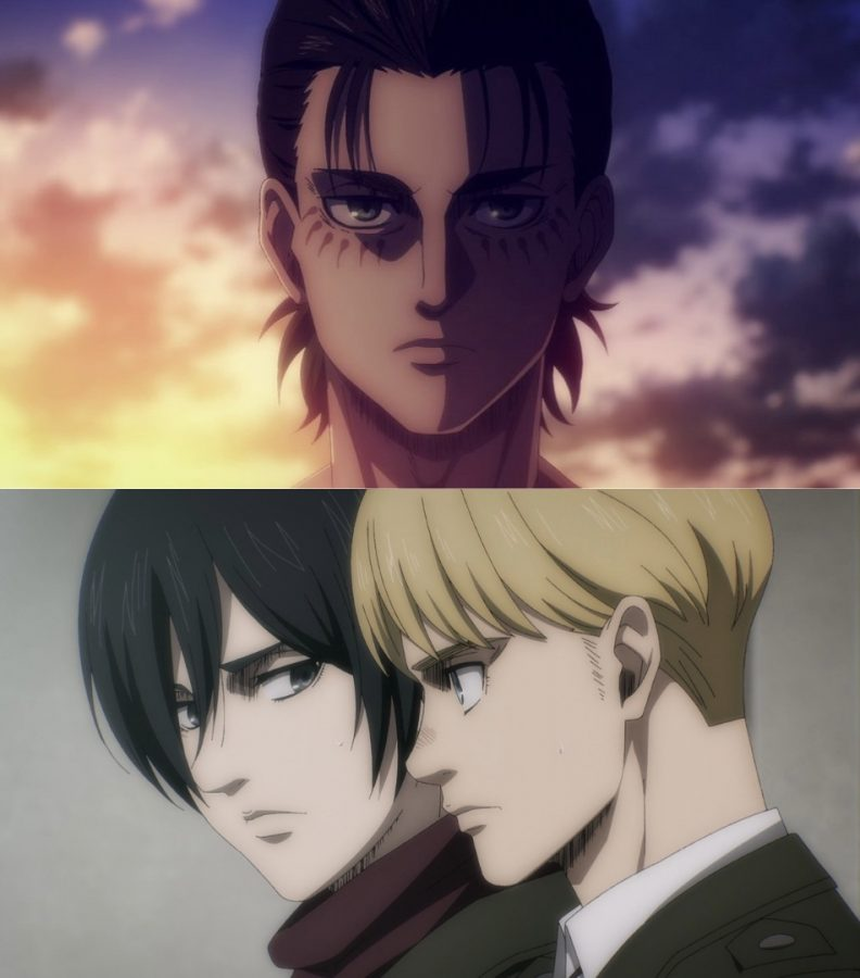 Eren (top), Mikasa (bottom left) and Armin (bottom right), who are the main characters of the series.