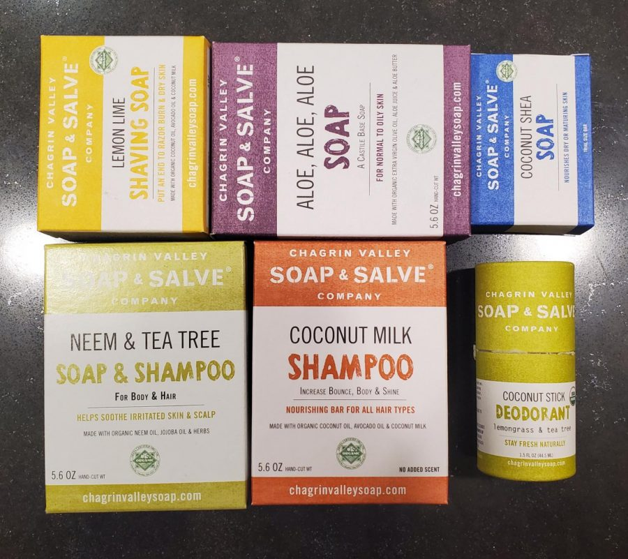 One of several companies mentioned in this article, Chagrin Valley Soap and Salve makes eco-friendly hygiene products like shampoo bars, deodorant, and other types of soaps.