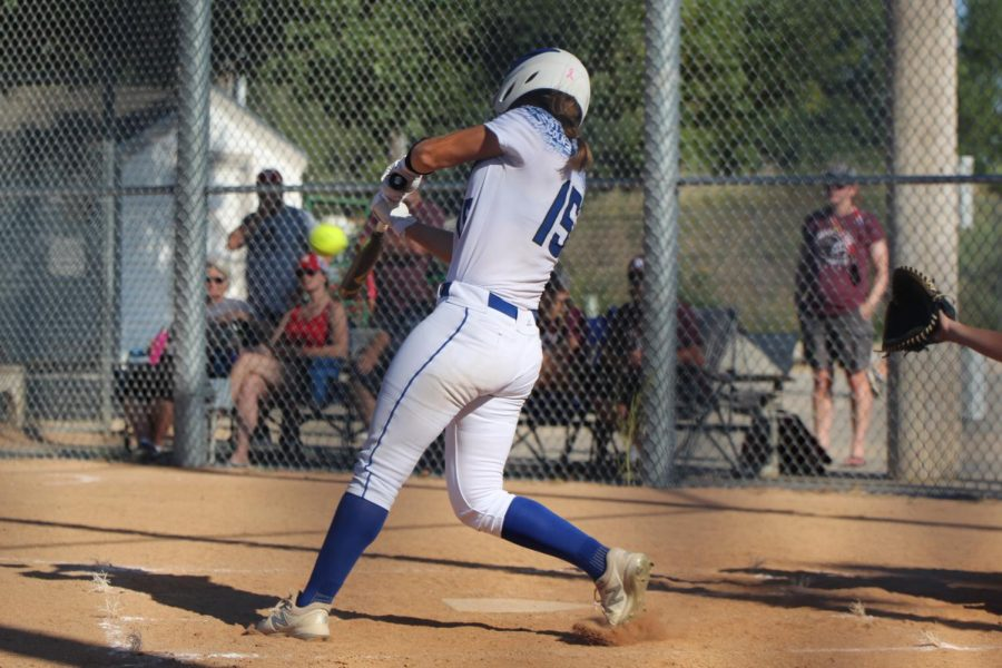 Sophomore Sydney Walz swings at a pitch Saturday August 28th at the 2021 LPS invite. The swing was a home run and one of the four hit at the invite.