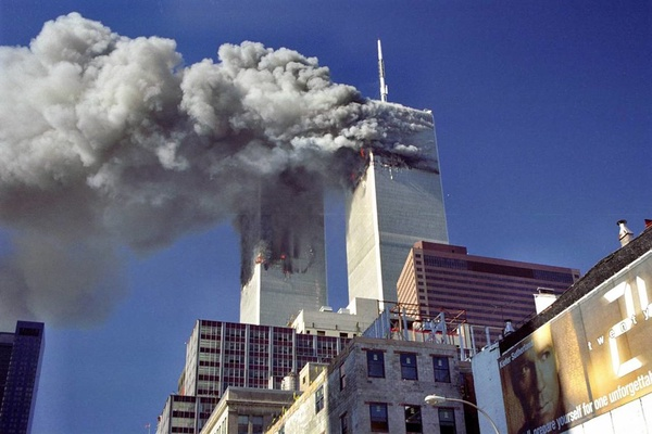September 11, 2001, right after the twin towers where hit. Planes filled with plently of fuel hit the twin towers causing them to go up in flames.