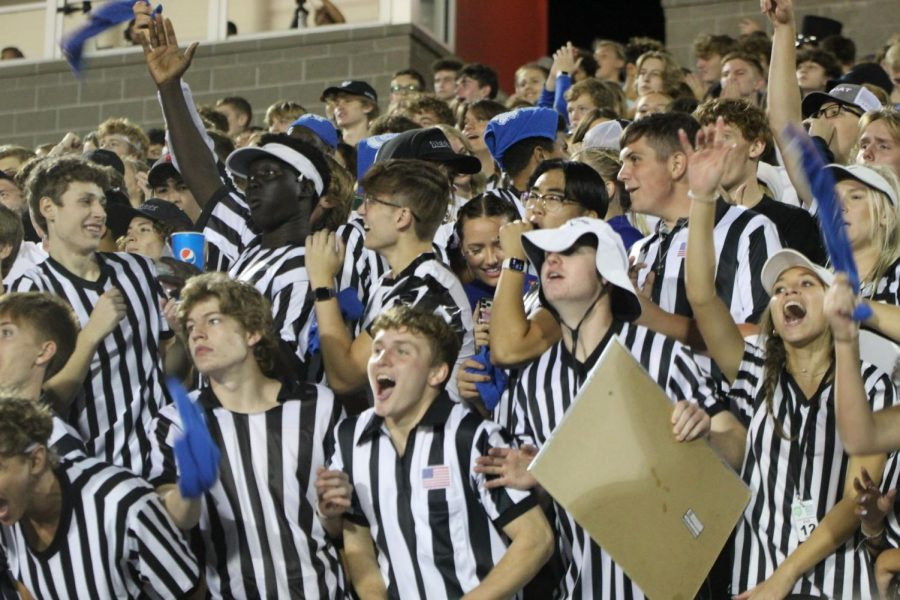 East students at the Millard North versus East High football game on September 17, 2021 at Seacrest Field. The theme for the night was referee and the student section was filled.