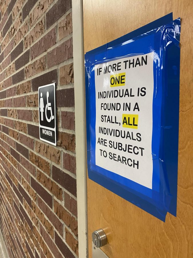Students+are+now+being+monitored+when+entering+and+exciting+the+bathroom.+Administration+has+taped+signs+on+bathroom+doors+to+warn+students.